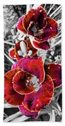 Red Double Lily Beach Towel