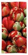 Red Elegant Blooming Tulips  Beach Towel