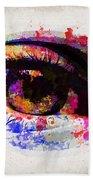 Red Eye Watercolor Beach Towel