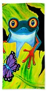 Red Eyed Tree Frog And Purple Butterfly Beach Towel