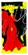 Red Faerie And Black Wolf With Yellow Moon Beach Towel