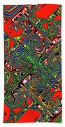 Red Five Wave Abstract Beach Towel