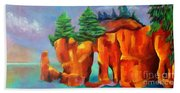 Red Fjord Beach Towel
