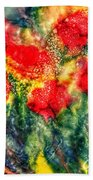 Red Floral Abstract Beach Towel