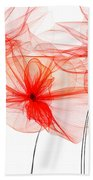 Red Floral - Red Modern Art Beach Towel