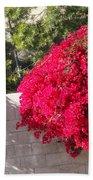 Red Flower Bushes Beach Sheet