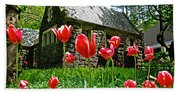 Red Flowers In Central Park Beach Towel