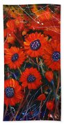 Red Flowers In The Night Beach Towel