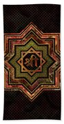 Red Gemstone And Gold  Star Of Lakshmi -  And Sri Beach Towel
