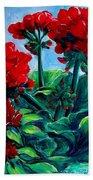 Red Geraniums Beach Towel