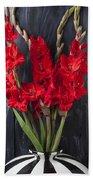 Red Gladiolus In Striped Vase Beach Towel