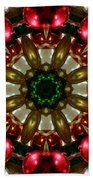 Red Gold Green Kaleidoscope 1 Beach Towel