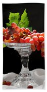 Red Grapes On Glass Dish Beach Towel