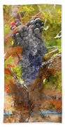 Red Grapes On The Vine During The Fall Season Beach Towel
