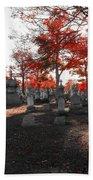 Red Fall Graveyard Beach Towel