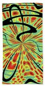 Red Green Yellow And Black Abstract Beach Towel