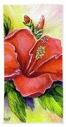 Red Hawaii Hibiscus Flower #301 Beach Sheet