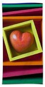 Red Heart In Box Beach Sheet
