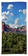 Red Hills And Green Tress Beach Towel
