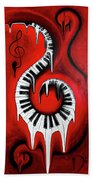 Red Hot - Swirling Piano Keys - Music In Motion Beach Towel