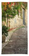 Red Ivy And Steps In Assisi Italy Beach Towel