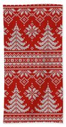 Red Knitted Winter Sweater Beach Towel