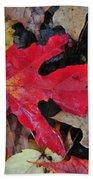 Red Leaf Beach Towel