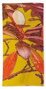 Red Leaves Gold Sunset Beach Towel