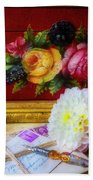 Red Letter Box And Dahlias Beach Towel