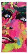 Red Light Offer, Palette Knife Painting Beach Towel