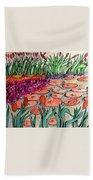 Red Lillies 2 Beach Sheet