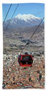 Red Line Cable Car Cabin And Mt Illimani Bolivia Beach Towel