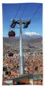 Red Line Cable Cars And Mt Illimani La Paz Bolivia Beach Towel