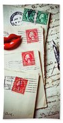 Red Lips Pin And Old Letters Beach Towel