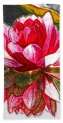 Red Lotus Flower Beach Towel