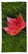 Red Maple Leaf  Beach Towel