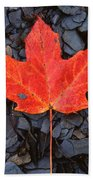 Red Maple Leaf On Black Shale Beach Towel