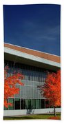 Red Maple Trees And Modern Architecture Of Seneca College York U Beach Towel