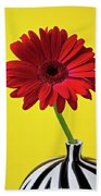 Red Mum Against Yellow Background Beach Towel