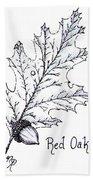 Red Oak Leaf And Acorn Beach Sheet
