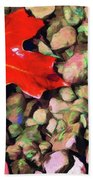 Red On The Rocks Beach Towel