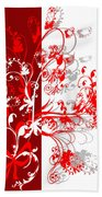 Red Ornament Beach Towel