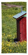 Red Outhouse 3 Beach Towel