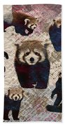Red Panda Abstract Mixed Media Digital Art Collage Beach Towel