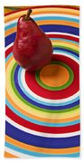 Red Pear On Circle Plate Beach Towel