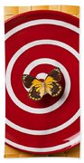 Red Plate And Yellow Black Butterfly Beach Towel