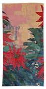 Red Poinsettias By George Wood Beach Towel