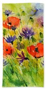 Red Poppies And Cornflowers Beach Towel