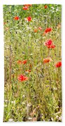 Red Poppies And Wild Flowers Beach Sheet