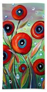 Red Poppies In Grass Beach Towel